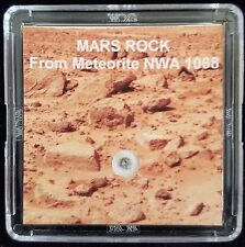 AUTHENTICATED MARTIAN METEORITE- Deluxe 12mg Mars Rock Display with Easel  l