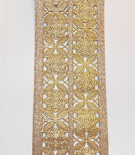 sari cut work GOLD Indian wedding dance costume ribbon braid flower applique