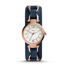 Fossil Women's ES3857 Georgia Artisan White Dial Navy Leather Watch