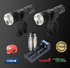 Opticfire CREE XML LED T6-ZOOM Waterproof twin torch bike light head lights set