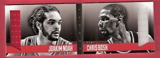 JOAKIM NOAH & CHRIS BOSH 2 GAME USED JERSEY CARD 2013-14 PREFERRED BULLS HEAT #d