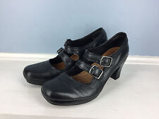 Clarks Artisan Black Leather heel 6 Excellent Career Cocktail Retro