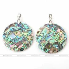 1pc 40mm Abalone Paua MOP Shell Round Charm Pendant Bead fit Necklace DIY Gift