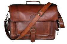 Men's Genuine Vintage Leather Messenger Bag Shoulder Laptop Bag Briefcase,