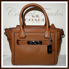 NWT $350 Coach Swagger 21 Pebbled Leather Satchel Crossbody Hand Bag SADDLE 2017