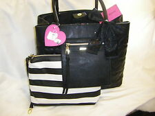 "NWT BETSEY JOHNSON  ""Bag In Bag"" Black Large Tote + Pouch To Go 2 Piece Set $138"