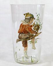 Becher Wasserglas Vogelnest Kaltemail-Malerei Lausbub Frühling 1.Hälfte 20. JH