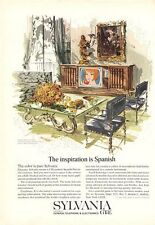 "1966 Sylvania Stereo Console ""Inspiration is Spanish"" ART PRINT AD"