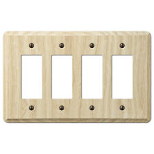 FOUR (4) GFI ROCKER UNFINISHED ASH WOOD SWITCHPLATE WALLPLATE: TO PAINT OR STAIN