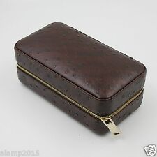 COHIBA Ostrich Embossed Leather Cedar Wood Lined 6 Tube Cigar Case Humidor