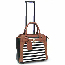 Cabrelli Sally Stripe Rolling Laptop Briefcase Women's Bag Wheeled Case 716020U