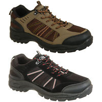 New Mens Lace Up Hiking Trainers Shoes Black or Khaki Size 6 7 8 9 10 11 12