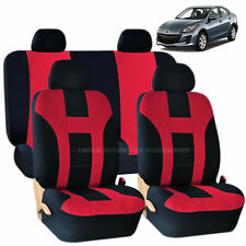 RED & BLACK DOUBLE STITCH SEAT COVERS 8PC SET for MAZDA 3 5 CX-9
