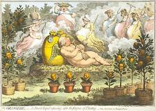 "The Orangerie by James Gillray William V Prince of Orange Cupid 1798 11x8"" Print"