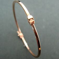 14K Solid Pink Rose Gold Tubular Stackable Bangle Bracelet 2mm wide