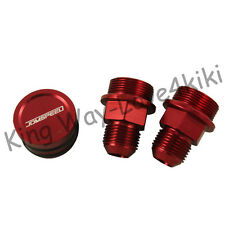 RED Block Plug & Catch Can Breather Fittings FOR B16 B18C CATCH CAN M28 TO 10AN
