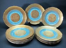 Finest Set of 12 STW BAVARIA German Dinner Cabinet Plates w/ Gilt Water Nymphs