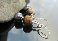 Hematite Tiger Eye Beads 925 Sterling Silver Earrings Leverback 925 Silver beads
