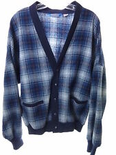 Vintage Mens Pendleton 100% Wool USA Blue Plaid Cardigan Sweater Sz Large, holes