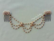 Rose gold Bridal headpiece, hairpiece Swarovski pearls crystals drapes wedding