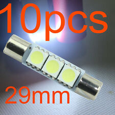10X Xenon White 3-SMD 6641 LED Bulb For Car Sun Visor Vanity Mirror Fuse Lights