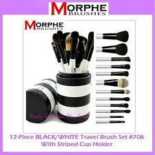 NEW Morphe Brushes 12-Piece BLACK & WHITE TRAVEL SET w/Cup Holder 706 FREE SHIP