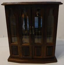 MUSICAL WOOD AND GLASS JEWELRY BOX 2 DOOR STORAGE ORGANIZER NECKLACES RINGS