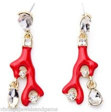 NAUTICAL RED ENAMEL CORAL BRANCH Crystal Rhinestone Dangle Drop Charm Earrings