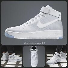 Sz 6 Nike AF1 Air Force 1 Ultra Flyknit Mid 818018-100 Triple White