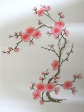 "#6767D 10-5/8"" Pink Yellow Quince, Sakura Flower Embroidery Applique Patch"