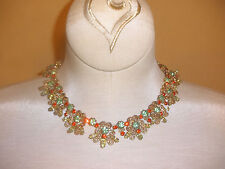D&E Juliana Necklace in Peridot Green & Orange Stones w/ Scrollwork Details