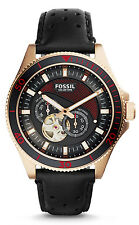 Fossil ME3091 Men's Wakefield Rose Gold Tone Black Leather Band Automatic Watch