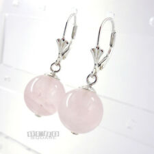Sterling Silver Genuine Gemstone Rose Quartz Dangle Lever Back Earrings #35031