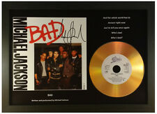 MICHAEL JACKSON 'BAD' SIGNED GOLD DISC DISPLAY