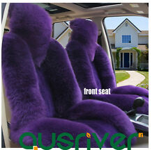 Premium Quality Purple 4Pcs Australian Sheep Skin Car Long Wool Seat Cover Set