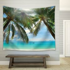 Large Palm Trees on an Island Framing the Ocean- Fabric Tapestry - 68x80 inches