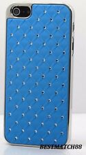 for iphone 5 5S blue sparkly diamond luxury hard snap on case + screen protector