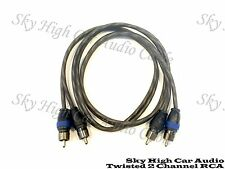 Sky High Car Audio 2 Channel Twisted 3 ft RCA Cables Coated 3' OFC