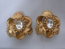 SIGNED DKNY DONNA KARAN NEW YORK GOLD TONE SPIRAL w CRYSTAL CLIP ON EARRINGS