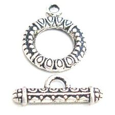 10 Sets 17x21mm Tibetan Silver Alloy Round Toggle Clasps - A6385