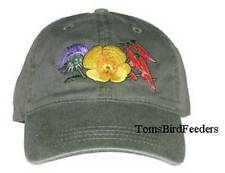 Desert Flowers Embroidered Cotton Cap NEW Hat Mexican Poppy Thistle  Penstemon
