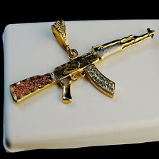 "3 TONE18K MEN""S & WOMEN""S RIFLE GUN GOLD PLATED ELEGANT CHARM PENDANT CHAIN SET"