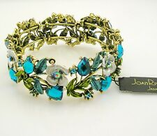 Joan Rivers Enamel & Crystal Hears & Flower Bracelet  Petite to Average