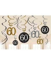 60TH SPARKLING BIRTHDAY SWIRLS HANGING PARTY DECORATIONS 60 SIXTY PACK OF 12