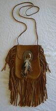 ~ SAINT LAURENT YSL TAN SUEDE FRINGE & FEATHER ANITA CROSS BODY BAG (OMG OMG)~