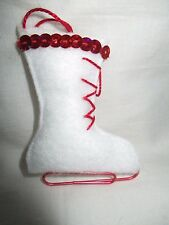 "Handmade Shabby Chic / Rustic Felt ""Ice Skate"" Christmas Tree Decoration"