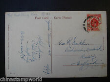 old china postcard fm HK to UK dd 24 April 1927,damaged stamp,creased