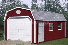12' x 24' Garage Building / Storage Shed Barn Roof Style Plans, Design  #31224