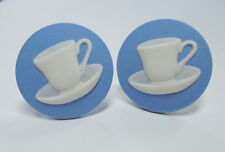 "LARGE Wedgwood- Silver-Plated Jasperware Cameo Cufflinks- ""Coffee/ Teacup"""