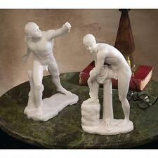 ANCIENT MALE NUDE GREEK INSPIRED SET OF 2 BONDED MARBLE STATUE FIGURINE NEW